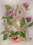 Rose Watercolor Dragon - Rose Garden by PandiiVan