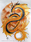 Golden Watercolor Dragon - Desert Snake by PandiiVan