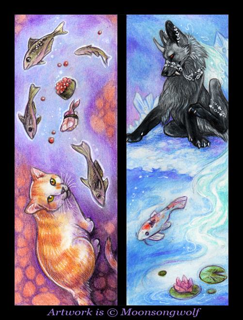 ACEO Cards: Fish Dreams by MoonsongWolf