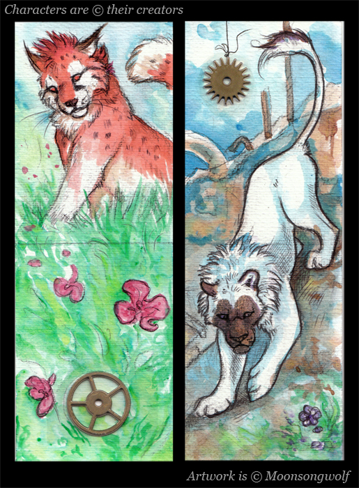ACEO Cards: Gears and Flowers by MoonsongWolf