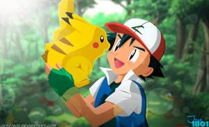 Pokemon - Ash and Pikachu by Jese1801