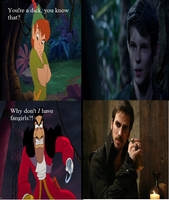 Peter Pan and Hook react to their counterparts by KitsuneLenali