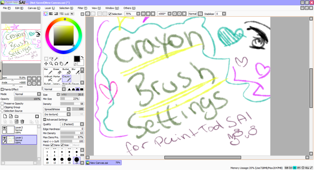 My Crayon Brush settings by Nanamiishere