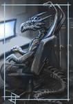 Dragon at desk