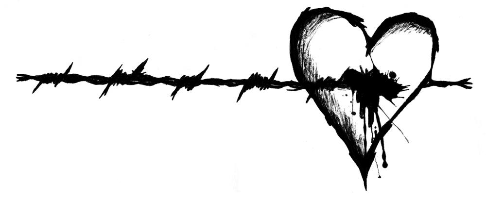 barbed wire heart drawing - photo #21