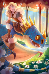 Astrid and Stormfly by Seanica
