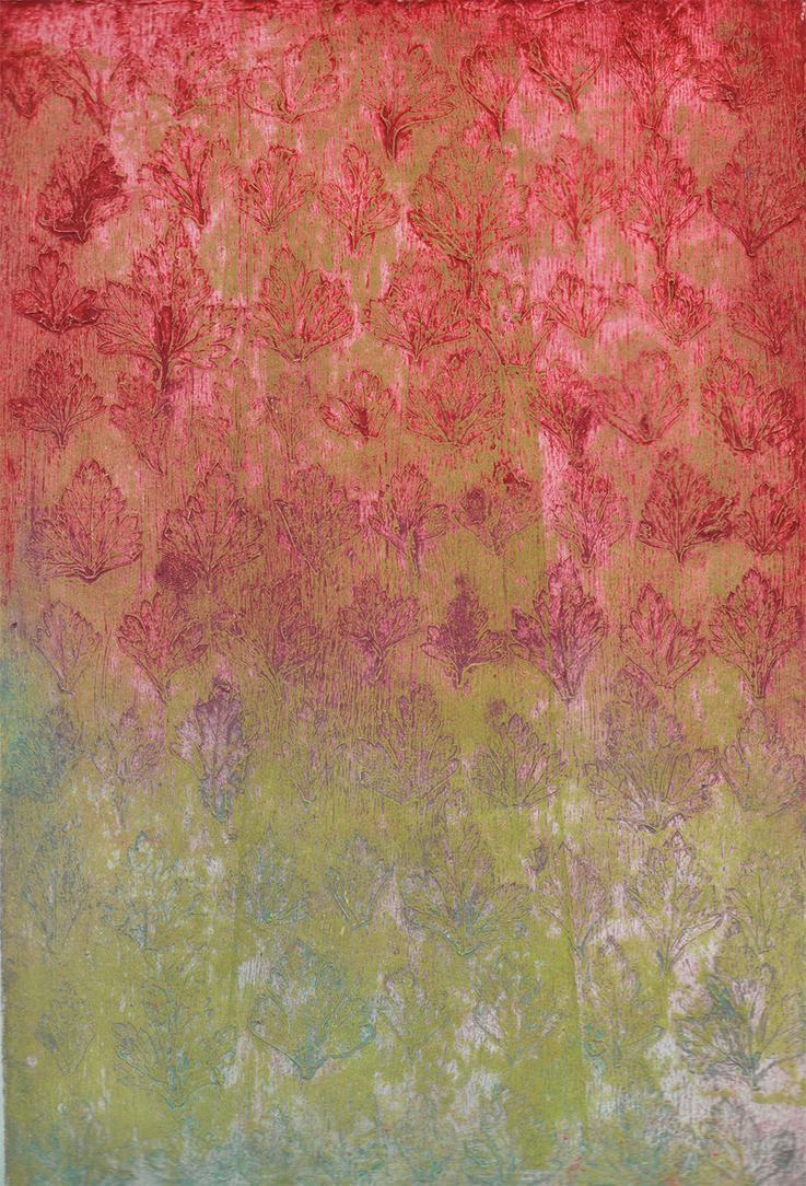 Colagrafia hojas de cilantro by Margut