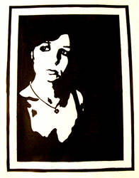 Black Ink Self Portrait by supercady