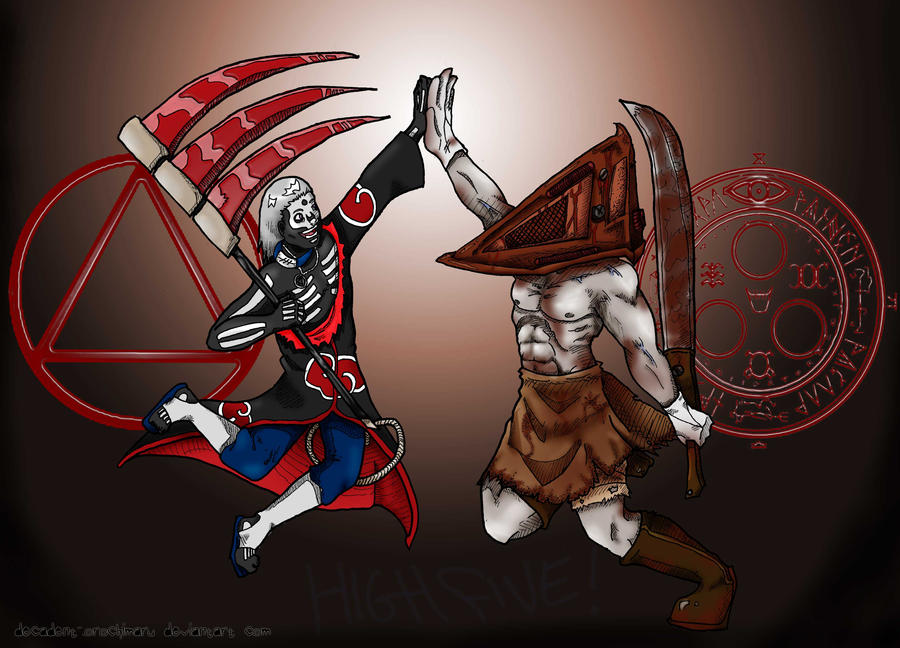 Hidan + Pyramid Head HighFive by orochimartyr