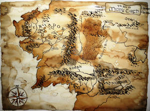 Map of Middle Earth Coffe Painting