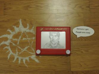 Dean Winchester in etch a sketch