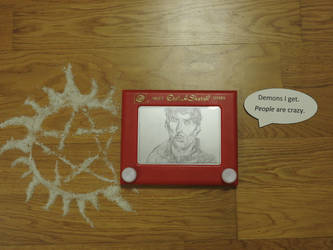 Dean Winchester in etch a sketch by kyo31