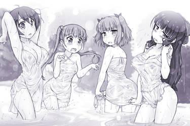 Wet dresses (New Game! fanart) by HitmanN