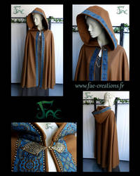 Fantasy brown cloak with hood and viking clasp by Herilome