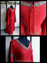 Red fantasy/medieval linen dress by Herilome