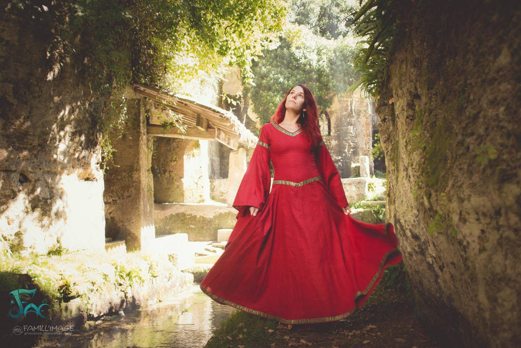 Red and gold medieval linen dress by Herilome