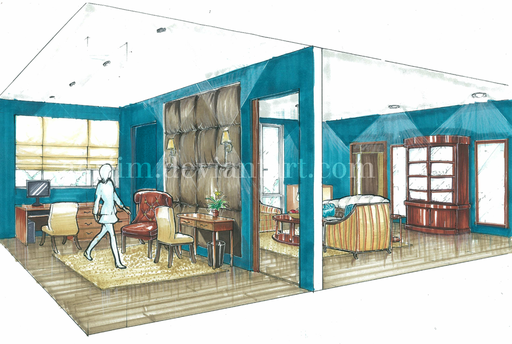 Study + Living Room Design by aeriim