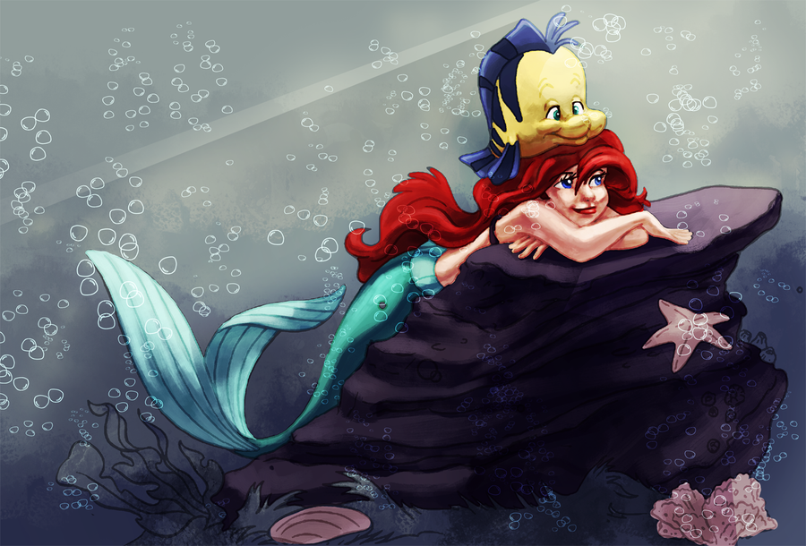 Coloring book page - Ariel and flounder by naima