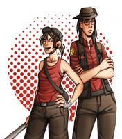 tf2: fem!scout and fem!sniper by Rellyz
