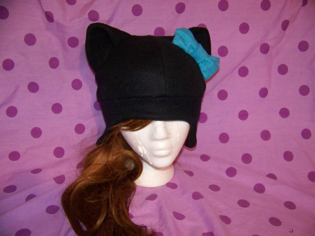 Black cat hat with a turquoise bow by skidwidget on deviantart