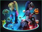 Zero Suit Samus and Widowmaker by Urbanator