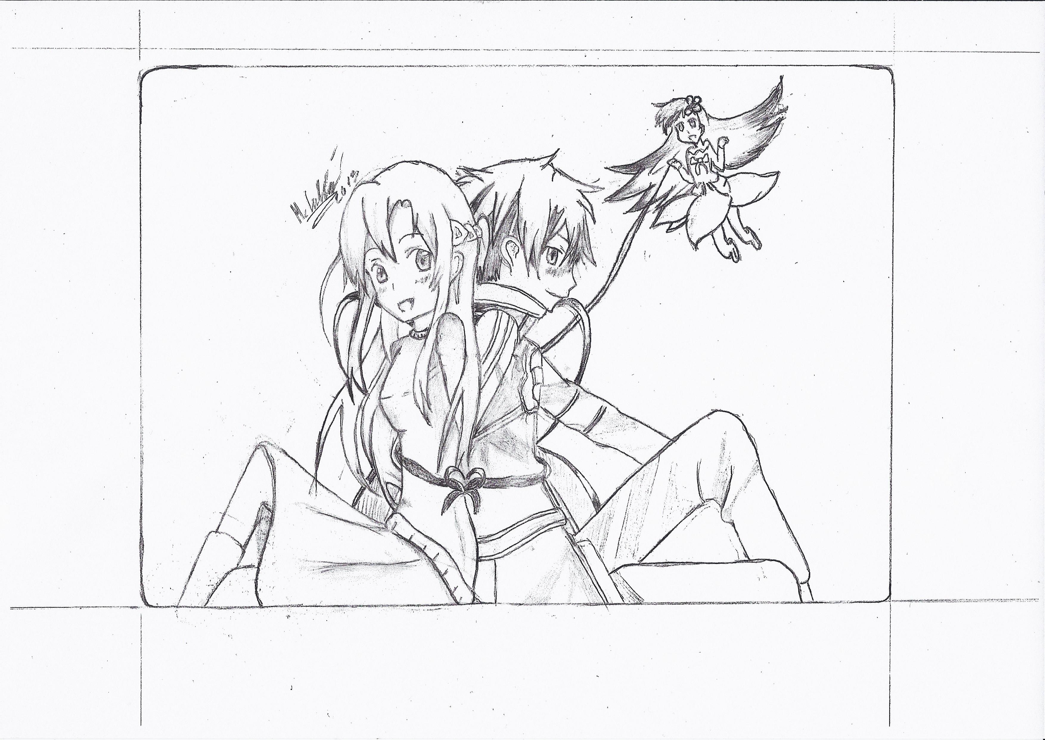 kirito and asuna coloring pages - kirito sword art online pencil coloring pages