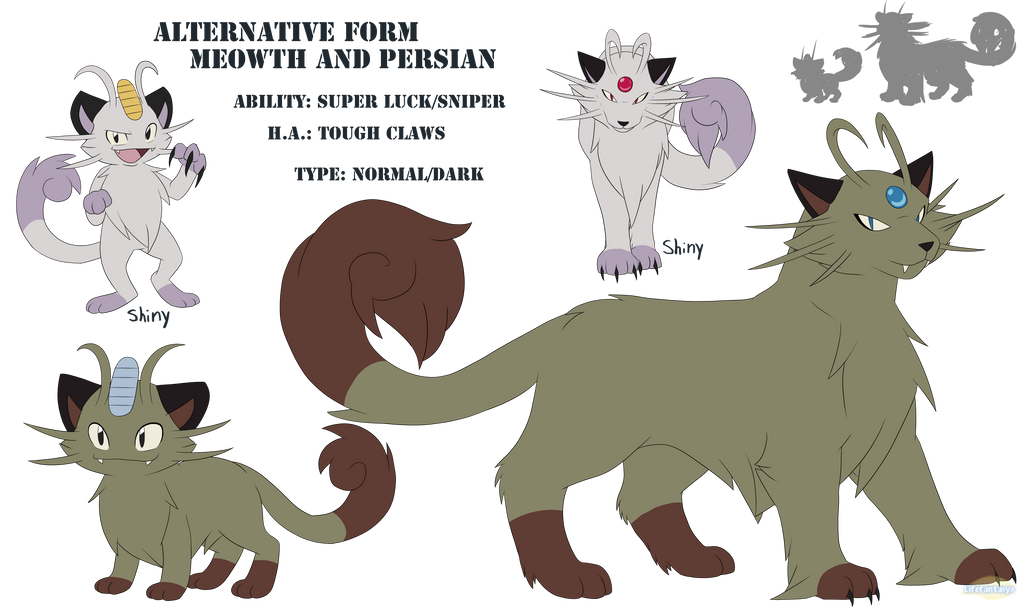 Alt Form Meowth and Persian Concept by Lifefantasyx on DeviantArt