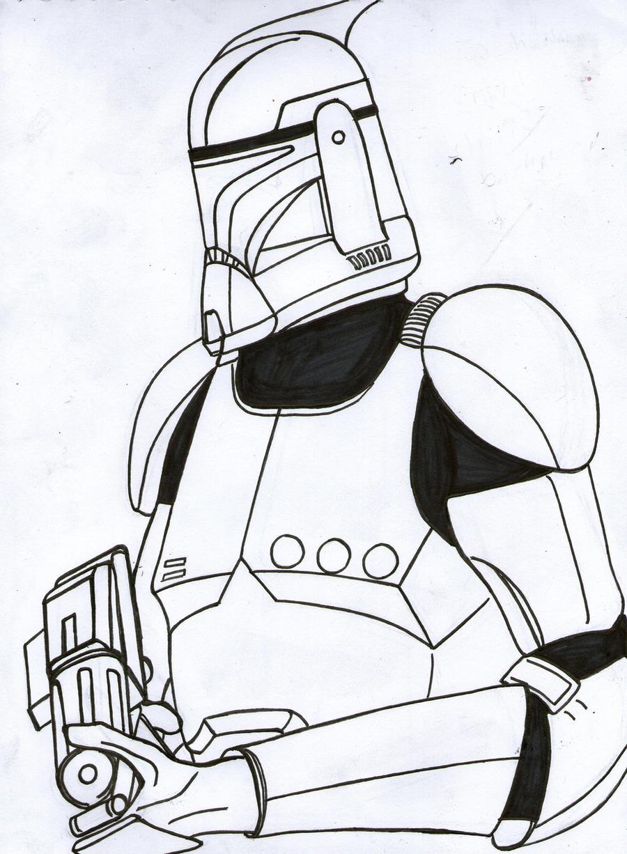 Clone trooper portrait line art by Funtimes on DeviantArt
