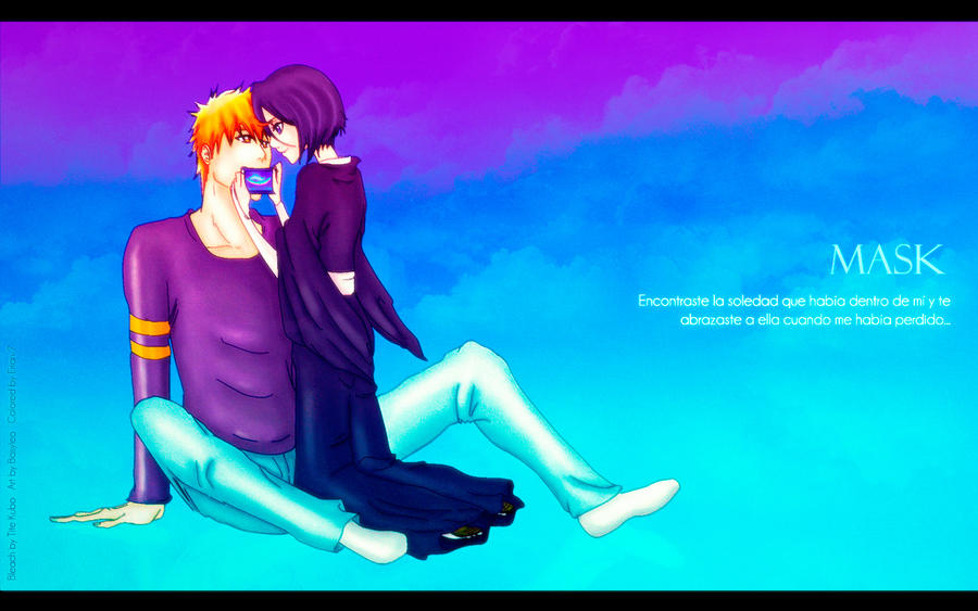Mask Ichigo and Rukia - Colored and Wallpaper by Erian-7