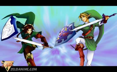 Zeldanime Link vs Oot Link by crazyfreak