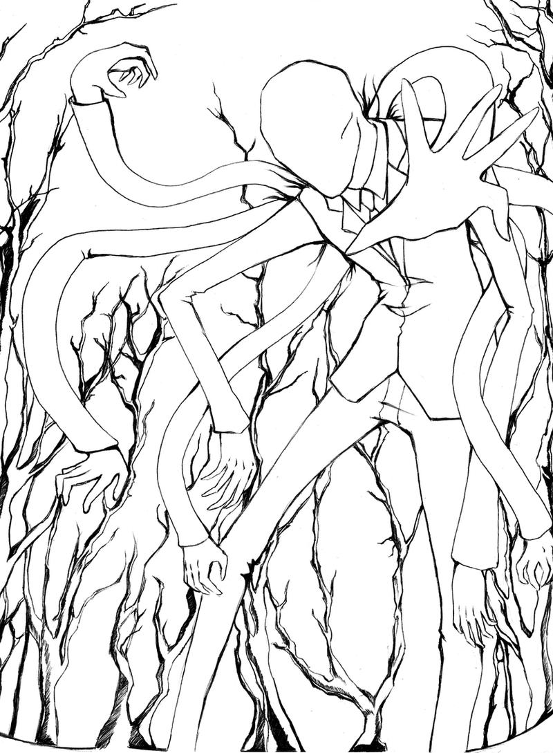 Slender man line art by patvit2009 on deviantart for Slender man coloring pages