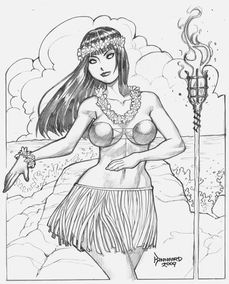 Hula girl by ryankinnaird on deviantart for Hula girl coloring page