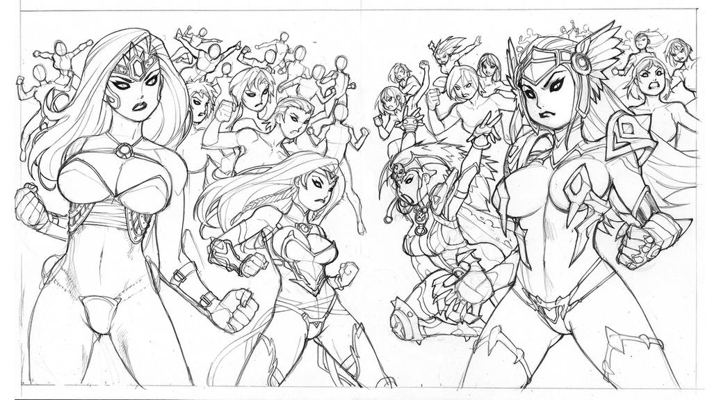 League of Maidens (VERSUS SHOT)-pencils by RyanKinnaird