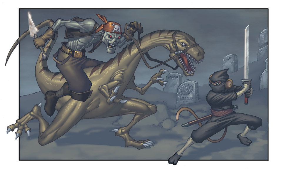 ZombiePirate VS NinjaMonkey by RyanKinnaird