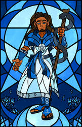 TCM: Stained Glass Asclepius by BlueSky-Writer