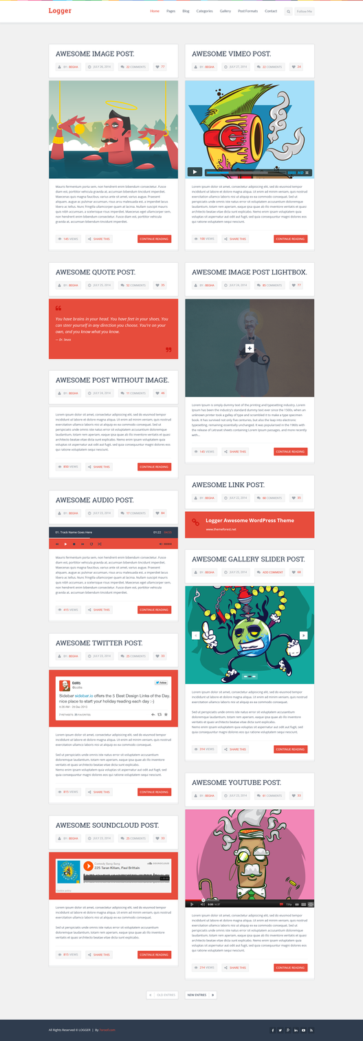 Logger Flat Blog PSD Template Homepage2 2Columns by begha