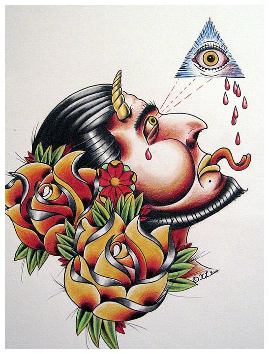 devil head - flower tattoo