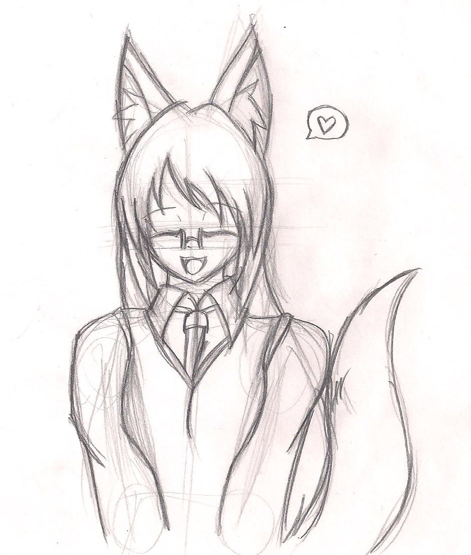 Slightly older foxgirl doodle by GlassMan-RV