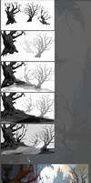 Old Forest Trees - Composition - Step By Step