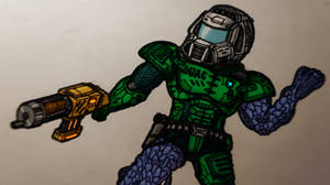 Infected Doomguy and His Chaingun - Aiming
