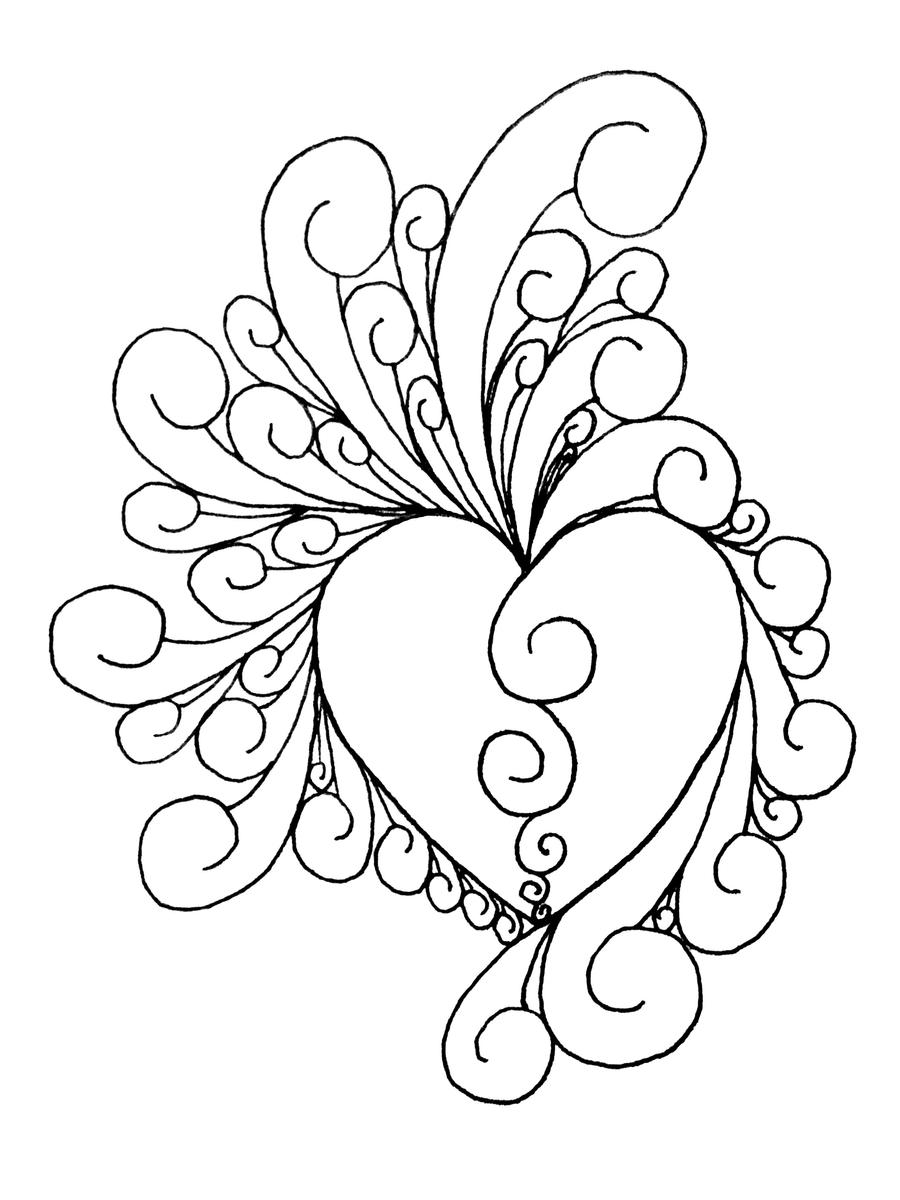 Heart designs coloring pages