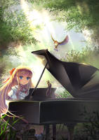 Piano in the Morning Mist in Forest