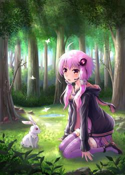 Yuzuki Yukari, with a White Rabbit