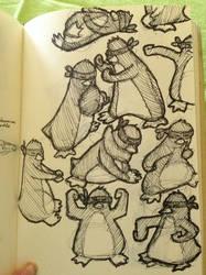 Karate Penguin Sketches
