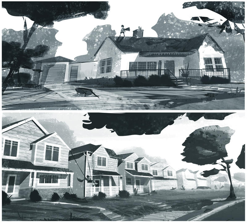 Suburb BW - sketches by petedarooky
