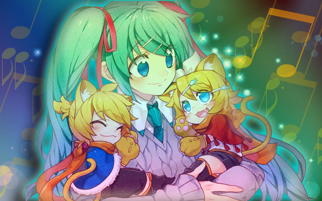 Miku, Rin, Len - My Nekos by Nikki-Kaji