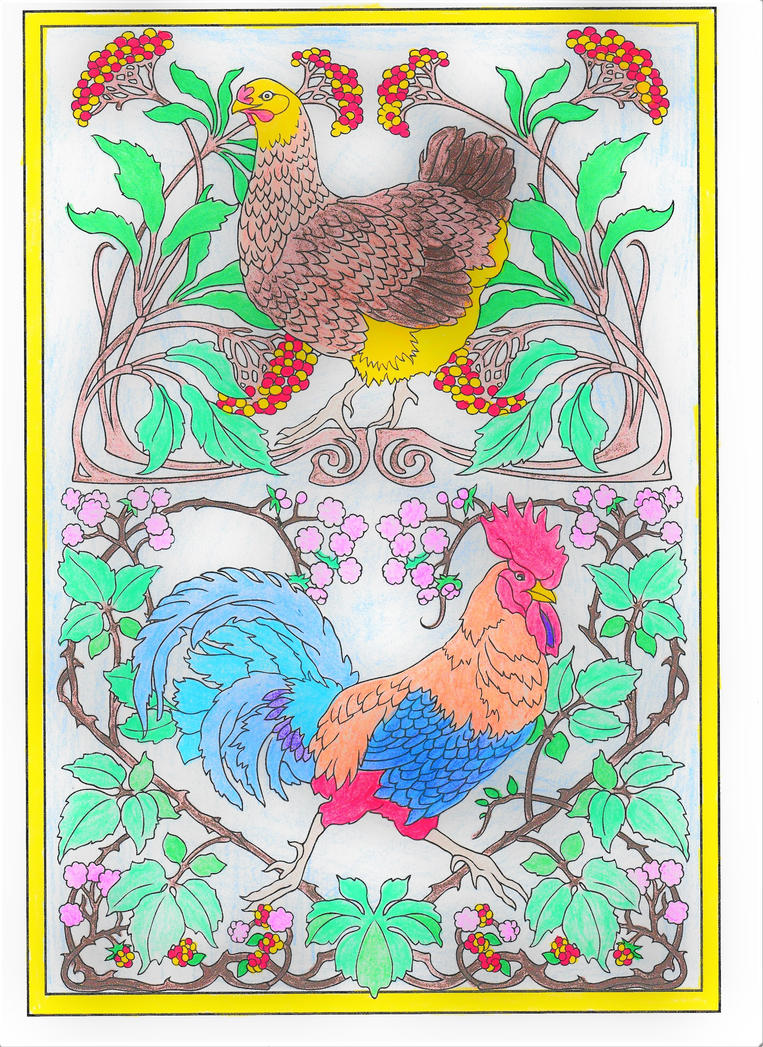 Chicken and Rooster by WiccaSmurf
