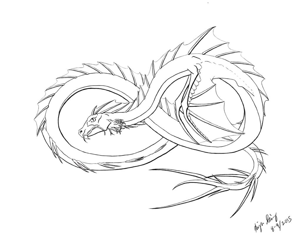 Sea Serpent Lineart (Photoshop cs2) by Rainsworld47 on ...