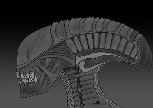 Stunted xenomorph black-grey