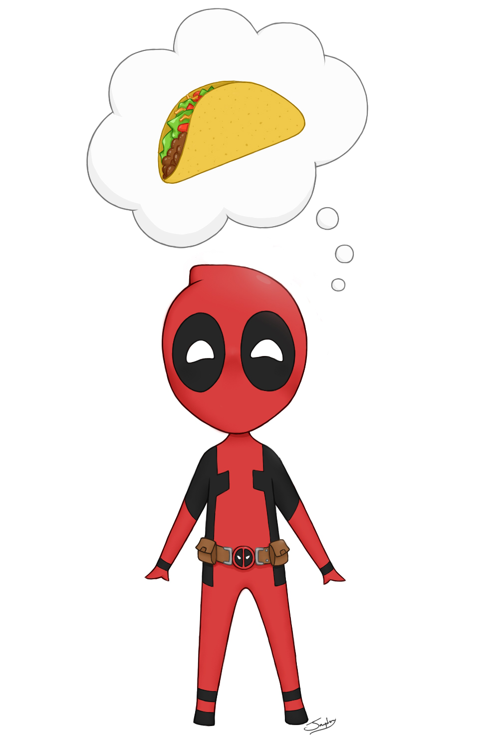 how to draw deadpool in chibi